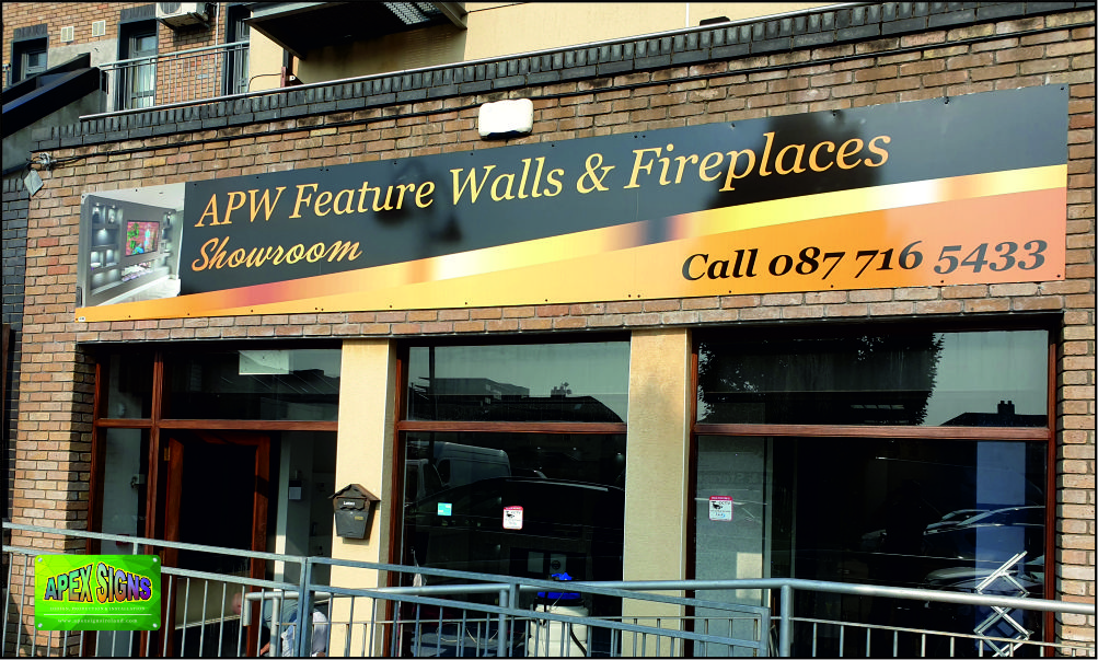 APW Feature Walls Tallaght shopfront sign 7mtr panel printed and laminated