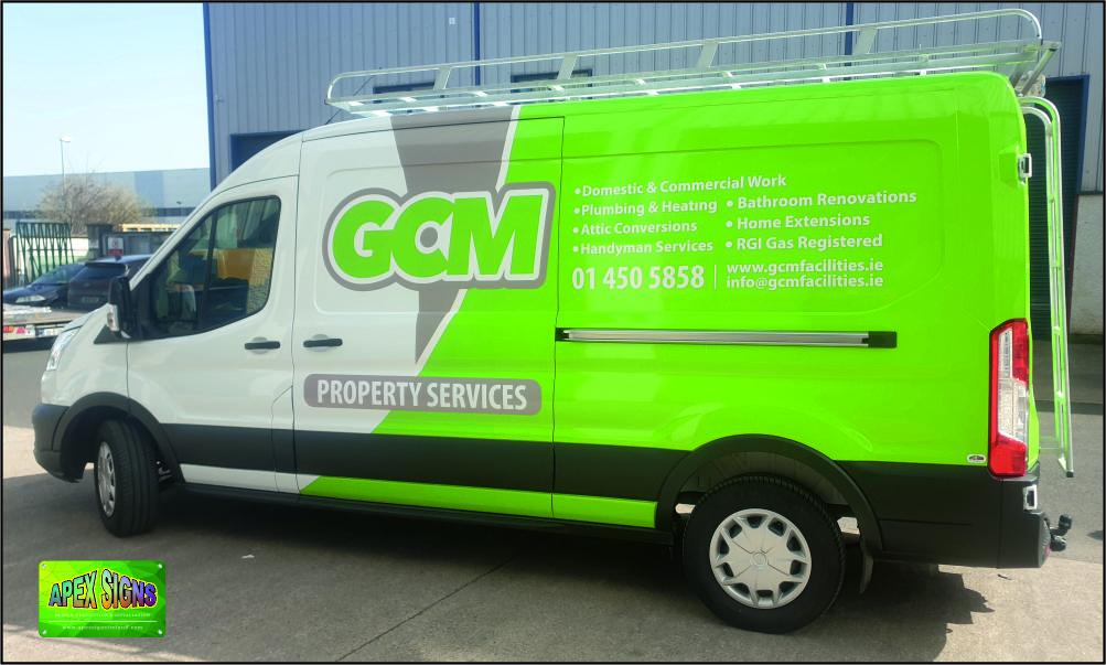 GCM Property Maintenance green Van Partial Wrap