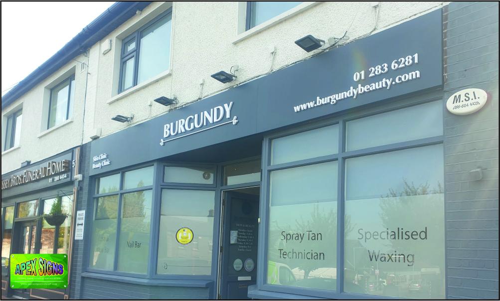 Shop front sign for Burgundy Beauty Salon Blackrock